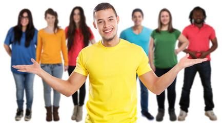 Freunde Menschen Jugendliche junge Leute soziale Medien jung Latino Freisteller freigestellt