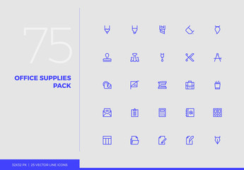 Vector Line Icons Office Supplies Pack