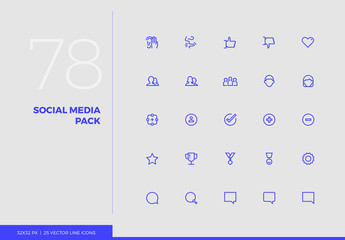 Vector Line Icons Social Media Pack