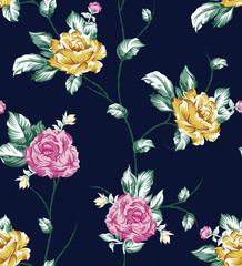 floral pattern on navy background