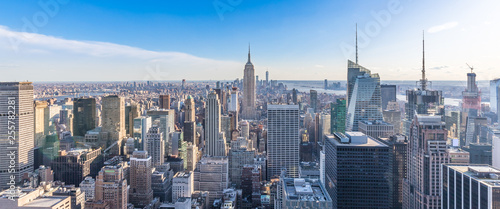 Panoramic Photo Of New York City Skyline In Manhattan Downtown With