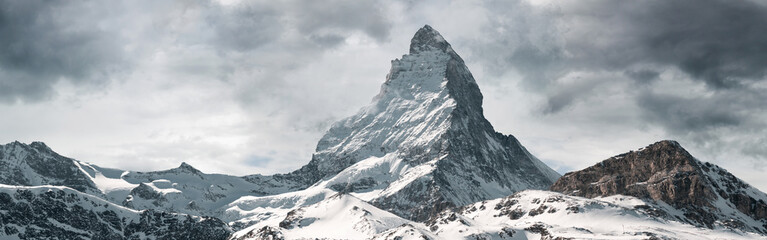 panoramic view to the majestic Matterhorn mountain, Valais, Switzerland Fotobehang
