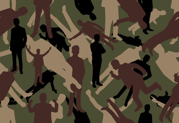 vector background of Green Businessman Camouflage pattern