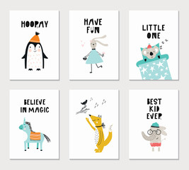 Collection of children cards with cute animals and lettering. Perfect for nursery posters. Vector illustration.