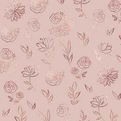 Flower pattern. Rose gold. Elegant vector background with foil effect for the design