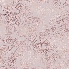 The branches. Rose gold. Elegant vector texture