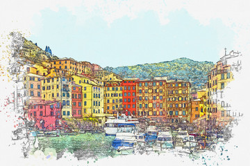 Watercolor sketch or illustration of the beautiful view of Camogli - a commune in Italy, located in the Liguria region, in the province of Genoa