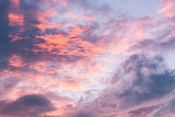 Beautiful Colorful sky and cloud in twilight background, Amazing purple sky after sunset time.