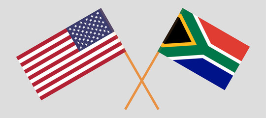 RSA and USA. The South African and United States of America flags. Official colors. Correct proportion. Vector