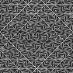 Abstract seamless pattern. Repeating geometric triangle tiles from striped elements. Vector monochrome background.