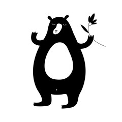 Cartoon bear illustration with sweet bear holding a flower. Cute vector black and white bear illustration. Monochrome bear illustration for prints, posters, covers, flyers, t-shirts and cards.
