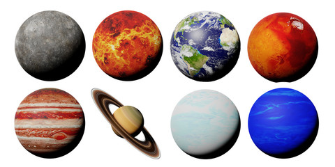 the planets of the solar system isolated on white background (3d space render, elements of this image are furnished by NASA)