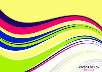 Wavy color stripes, lines. Trendy saturated colors. Bright abstract pattern. Vector background for web design, site, wallpaper, banner, presentation, cover.