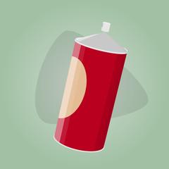 retro cartoon illustration of a spray can