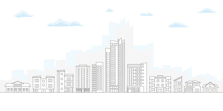 City Skyline. Outline Cityscape. Urban Landscape with Buildings and Houses. Thin line City Background. Vector illustration.
