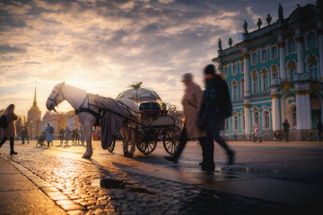 Horse coach at Palace Square near Hermitage museum. Saint Petersburg, Russia in the sunset