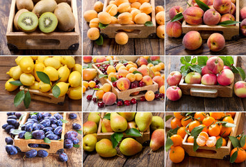 collage of various fruits in a wooden boxes