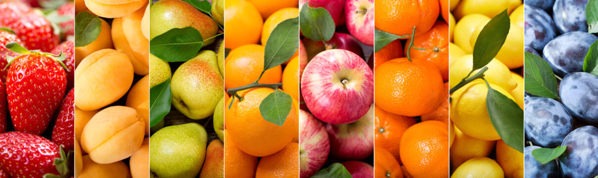 fruit collage of various types fruits