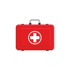 Red first aid box illustration. Flat design. Vector. Isolated.