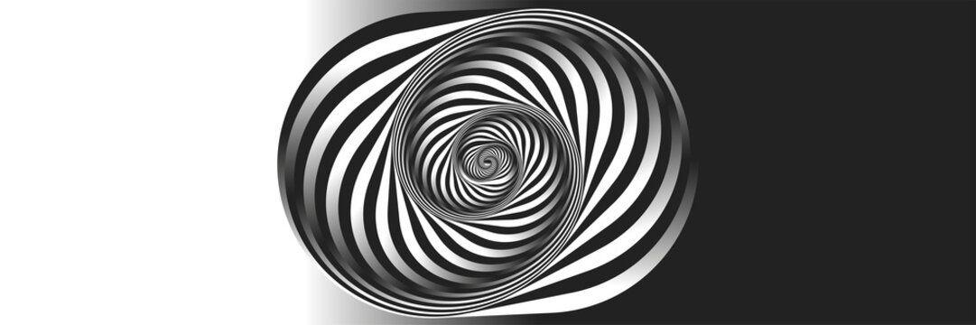 Surrealism. Psychology and philosophy, a sample for printing. Black and white fractal background. Escher style. Images in the style of optical visual illusions - pop art.
