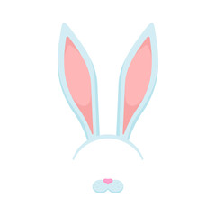 Rabbit ears and nose illustration. Vector. Isolated.