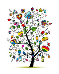 Art floral tree for your design