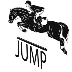 Equestrian sport, show jumping, eventing. An image of a rider jumping on a horse.