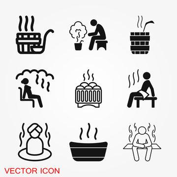 Sauna icon vector sign symbol for design
