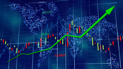 Blue hi-tech background - stock diagrams with rising arrow. World map behind digits, line and tables. Data wallpaper. 3D rendering.