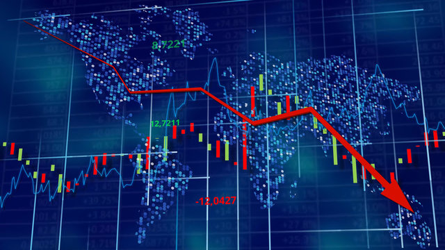 Blue hi-tech background - stock diagrams with falling arrow. World map behind digits, line and tables. Data wallpaper. 3D rendering.
