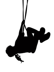 a girl swinging silhouette vector