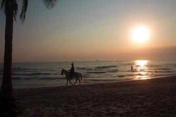 hua hin/aom manao beach/pier at sunrise sunset