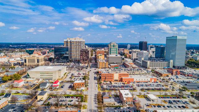 Downtown Aerial Panorama of Columbia, South Carolina, USA