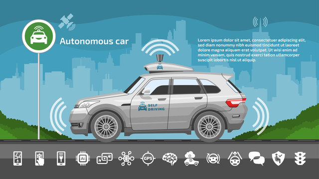 Autonomous driverless car vector illustration. Self drive smart sensor safety automated vehicle with icons and city background.