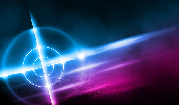 Futuristic abstract background. Empty room background, concrete. Neon blue pink light smoke. Laser lines, laser target in the center of the room.