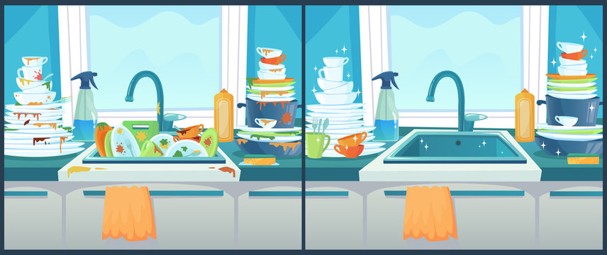 Washing dishes in sink. Dirty dish in kitchen, clean plates and messy dinnerware cartoon vector illustration