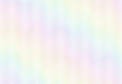 Guilloche watermark texture. Textured passport paper, banknote secure rainbow pattern and color line waves vector seamless background