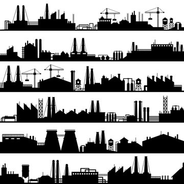 Factory construction silhouette. Industrial factories, refinery panorama and manufacture buildings skyline vector illustration set