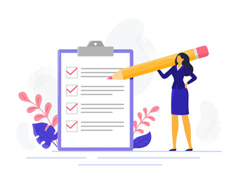 Businesswoman checklist. Successful woman checking task success, completed business tasks. Check mark list vector illustration