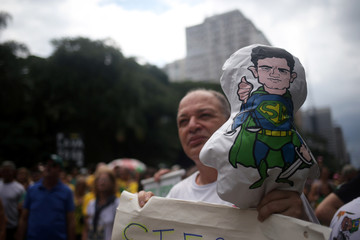 An inflatable doll depicting judge Sergio Moro is pictured during a protest in support of Lava Jato (Car Wash) investigation in Sao Paulo