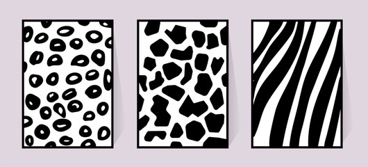 Vector texture of zebra, giraffe, leopard. Black and white illustration for poster. Monochrome poster with animal background for textile design set safari jungle fur. Three cards for wall decoration