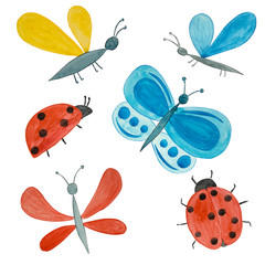 Set of Watercolor bright insects.  Handmade drawn  butterflies, ladybugs, midges