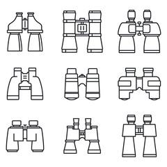 Travel binoculars icons set. Outline set of travel binoculars vector icons for web design isolated on white background