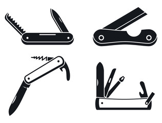 Penknife cutter icons set. Simple set of penknife cutter vector icons for web design on white background