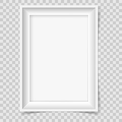 Retro Style Empty Picture Frame On Transparent Background.