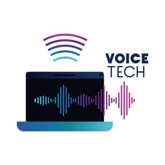 voice tech label with laptop and sound wave