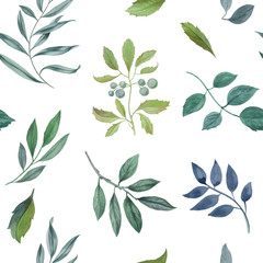 Seamless watercolor pattern. Hand painted leaves of different colors on a white background.