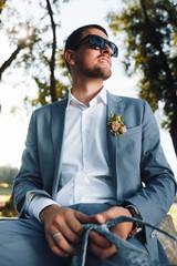 Stylish groom.Wedding photo