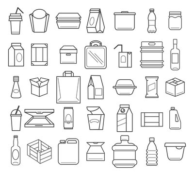 Package and box line icons
