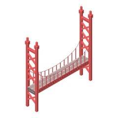 Red bridge icon. Isometric of red bridge vector icon for web design isolated on white background